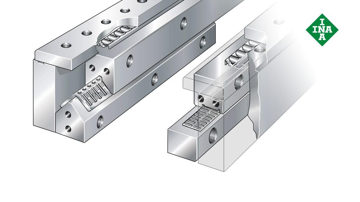 Guide lineari Schaeffler: sistema di bloccaggio con gabbie piane a rullini e a rulli cilindrici