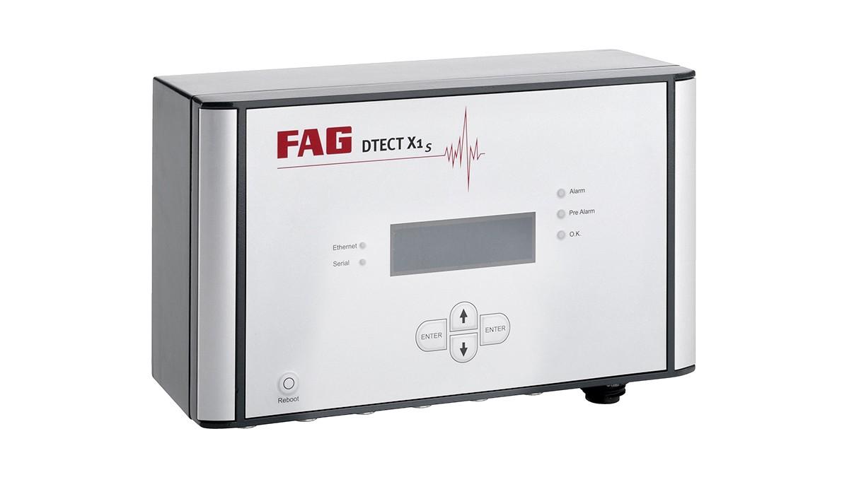 FAG DTECT X1 s è un sistema online flessibile per il monitoraggio di componenti ed elementi rotanti nell'industria delle macchine e degli impianti.